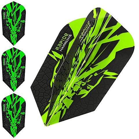 HARROWS Rapide X Dart Flights, 100Micron–Slim Grün–10Sets (30)–mit Darts Ecke gebogen Kugelschreiber