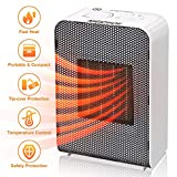 MIGICSHOW Fan Heater, Portable Electric Heater 750W/1500W Cold & Hot Air 3 Settings PTC Tip-Over & Overheat Protection with Adjustable Thermostat Quiet Fast Heating Up for Home Office Bedroom