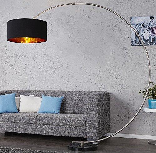 DuNord Design Bogenlampe Stehlampe WESTEND schwarz gold m. Dimmer Marmor Lounge Design Lampe