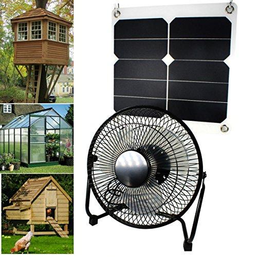 10W 5V Solarpanel Powered Lüfter Fan für Camping Caravan Yacht Gewächshaus Hundehaus Hühnerstall...