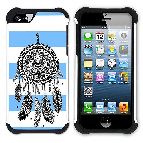 Graphic4You Traumfänger Linien Muster (Wasserblau) Hart + Weiche Kratzfeste Hülle Case Schale Tasche Schutzhülle für Apple iPhone SE / 5 / 5S Babyblau