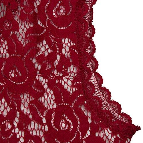 KAXIDY Femme Dentelle Robe Col Rond Longues Robe de Soirée Robe Longue Vin Rouge