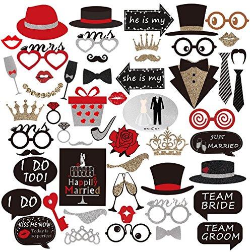 ps 54-Stück DIY Kit für Hochzeit Party Reunions Geburtstage Kostüme mit Hüte, Lippen, Schnurrbart, Gläser und mehr auf Sticks (Schnurrbart Und Gläser)