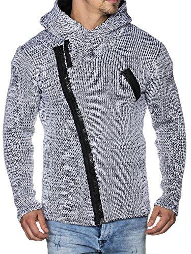 TAZZIO Herren Strick-Jacke mit Kapuze 16491 Weiß