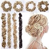 Long Scrunchy Scrunchie Bun Up Do Hair Piece Hair Ribbon Ponytail Extensions Wavy Messy Dark Black