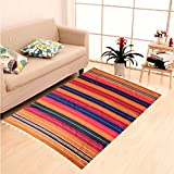 #4: Weavers Villa® Multi Colorful Striped 100% Cotton Satranji Woven Carpet/Solapur Carpet/Bhavani Carpet/Multipurpose Chaddar Galicha Rug [Size:197 cm X 118 cm]