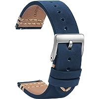 TStrap Orologi Cinturini Pelle 20mm - Sostituzione Cinturino Morbido Nero a Sgancio Rapido - Cinturino Sportivo per Uomo…