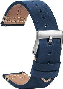 TStrap Orologi Cinturini Pelle 20mm - Sostituzione Cinturino Morbido Nero a Sgancio Rapido - Cinturino Sportivo per Uomo Donna - Cinturino Orologi Intelligenti Fibbia Hasp - 18mm 19mm 21mm 22mm