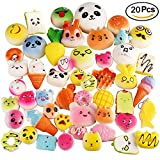 LEEHUR 20Pcs Compact Mini Cute Squishy Toy Super Soft Bread Panda Toys Phone Charm Key Chain Cell Phone Pendant Decoration