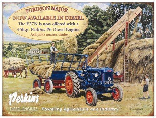 Fordson Major / Perkins Diesel Metallschild (og 4030) -