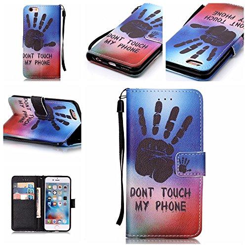 mo-beauty ® - Custodia a portafoglio in ecopelle per iPhone 7, include uno schermo protettivo in vetro temperato, Ecopelle, Cute owl, iPhone 5/5S/SE Don't touch my phone #1