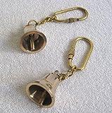 2X Schlüsselanhänger- Glocke- massiv Messing- Karabiner