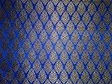 Brokat Stoff royal blau, schwarz und metallic gold Farbe