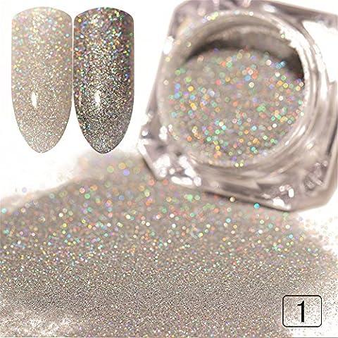 Coulorbuttons 1G Laser holographique Poudre à ongles Paillettes Manucure Chrome pigments DIY matériaux, Silver, 1g