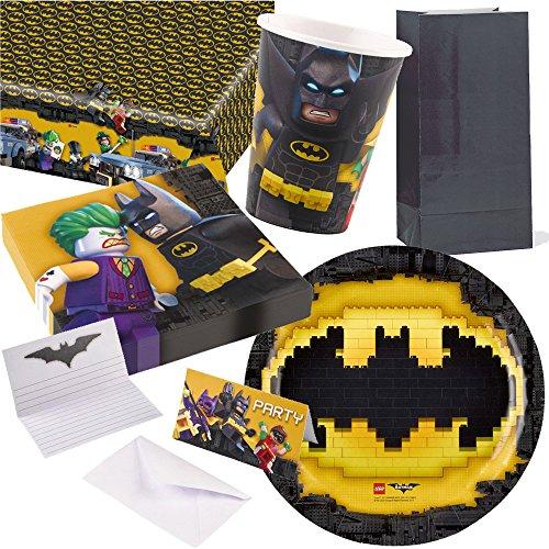 109-teiliges * LEGO BATMAN * PARTY SET für Kindergeburtstag mit 8 Kinder: Teller, Becher, Servietten, Einladungen, Partytüten, Tischdecke, Luftschlangen, Luftballons, u.v.m. // Mottoparty Motto Geburtstag Party DC Comics (Motto Partys Superhelden)