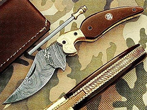 Handgefertigt 19cm Awesome Klapp Tasche Messer Made mit echten Damaskus Stahl mit Micarta Holz Griff und Kropf eingraviert: (bdm-1102) (Legal zu tragen)