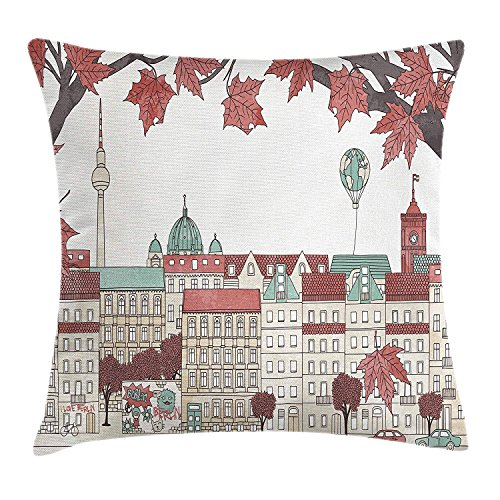 ziHeadwear German Throw Pillow Cushion Cover, Autumn in Berlin Colorful Hand Drawn Illustration of The Capital City of Germany, Decorative Square Accent Pillow Case, 18 X 18 inches, Multicolor