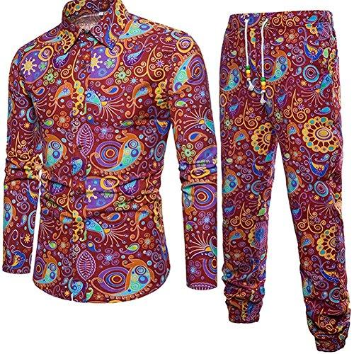 Coole Männer Köln (VEMOW Sommer Herbst Winter Mens Casual Langarm Shirt Business Täglich Sport Dating Coole Hübsch Slim Fit Shirt Print Bluse Top + Hosen(Rot, EU-56/CN-5XL))