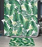 Ommda Duschvorhang Textil Wasserdicht Duschvorhang Anti-schimmel Pflanzen Digitaldruck Waschbar mit 12 Duschvorhang Ring 180x220cm(Keine Matten) Bananenblatt