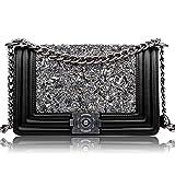 Macton 2,55 klassischen Schaffell Diamant-Kette Umhängetasche Frau Messenger Tasche MC-2026 (schwarz)