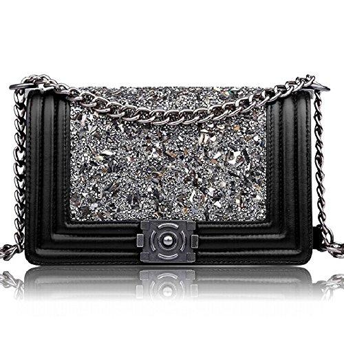 Macton 2,55 klassischen Schaffell Diamant-Kette Umhängetasche Frau Messenger Tasche MC-2026 (schwarz) (Handtaschen Gucci Logo)