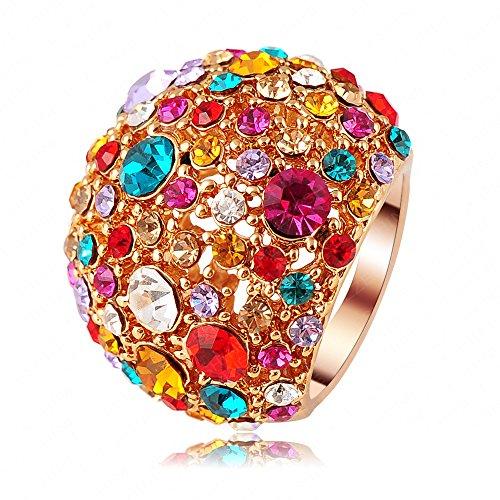 AnazoZ Schmuck Marke Lux Frauen Ring Des Kristall 18K Rose Gold Ring Mit Wedding Ring (Frauen Wedding-ring-gelb Gold)