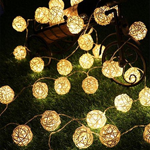 Haosen 20 leds Takraw sepak Outdoor solare luce della solari luci stringa luci di Natale luci della stringa esterni decorazione del giardino luce (Bianco caldo)- 4,8 metro IP65 risparmio energetico impermeabile