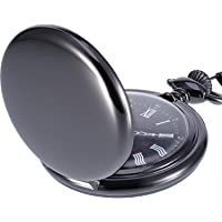 Montre de Poche à Quartz Antique Pocket Watch avec Chaîne en Acier