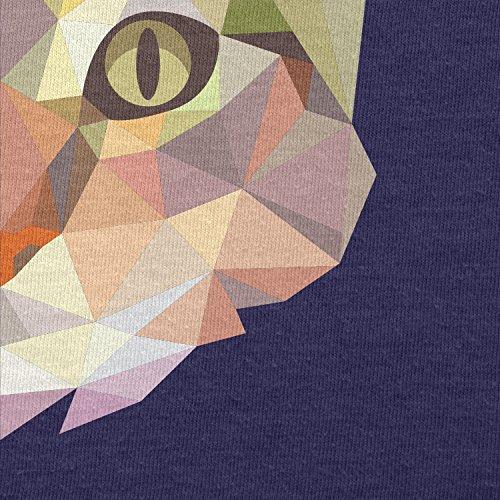 TEXLAB - Polygon Cat - Herren Langarm T-Shirt Navy