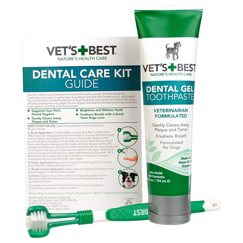Vet's Best Dental Gel Toothpaste and Toothbrush Kit for Dogs