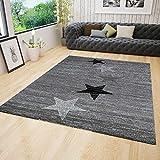 VIMODA Teppich Modern Design Grau Schwarz Weiß Kurzflor Stern Muster - Pflegeleicht und Top Qualität, Maße:200x290 cm