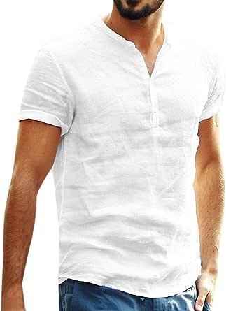 KPILP Men Cotton Linen Breathable Baggy Loose SOID Color Short Sleeve RDaily T Shirts Tops Blouse