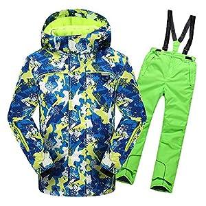 Jxth Outdoor-Sportswear-Jacke für Kinder Jungen-Mädchen-warme Winddichte Wasserdichte Schneeanzug-mit Kapuze Ski-Jacke mit Hosen 2 PC-Satz zum Skifahren, Snowboarden, Camping Unisex