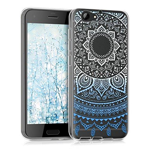 kwmobile HTC One A9s Hülle - Handyhülle für HTC One A9s - Handy Case in Blau Weiß Transparent