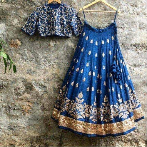 NV Trendz Women\'s Blue Embroidered Taffeta Silk Lehenga For Women