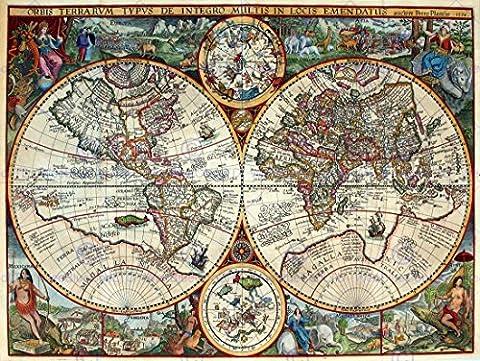 MAP ANTIQUE GLOBE HEMISPHERE ORNATE DECORATIVE 30X40 CMS FINE ART PRINT. AFFICHE. IMPRIMER ART POSTER BB8174