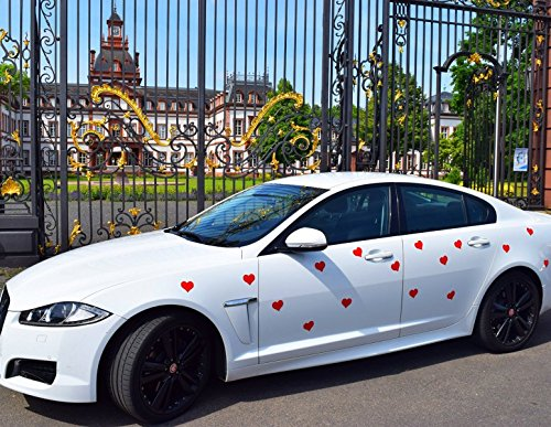 AUSWAHLANGEBOT Magnetherzen Magnetherz Hochzeits Schuck Valentinstag Magnetische Herzen in Rot Weiß Matt - Glänzend Schwarz selbstklebend (25 Stück, Rot)