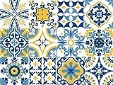 Vinilo decorativo autoadhesivo con diseño de azulejos portugueses de la colección Alfama (12 unidades) (15 x 15 cm cada uno)