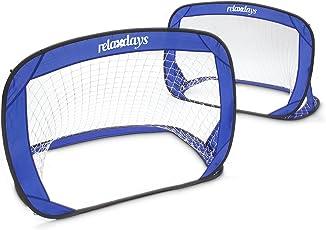 Relaxdays Pop Up Tor 2er Set, selbstaufstellende Fußballtor, Minitore mobil mit Tragetasche, 80 x 120 x 80 cm, blau