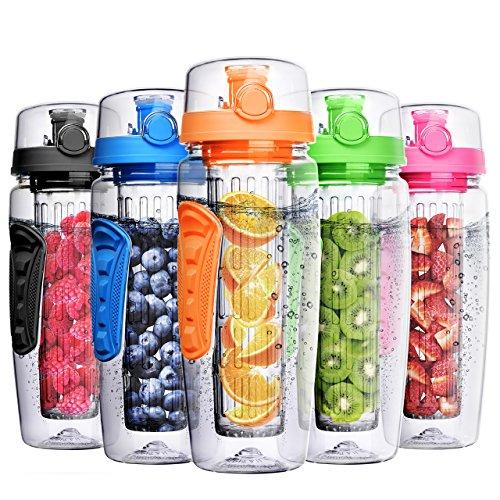 OMORC Botella Agua Deportiva, 1 Litro con Filtro Infusor de Fruta, Sport Water Bottle Sin BPA Reutilizable y Fitness para Niños, Oficina, Gimnasio, Yoga, Bici Incluye un Cepillo de Limpieza