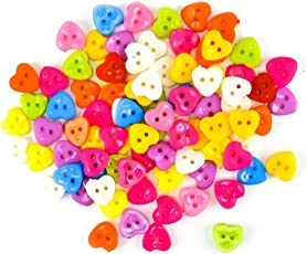 Unobite 2-Holes Heart Design Plastic Buttons for Sewing and DIY Craft Pack of 100 Piece