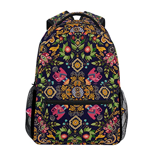 TIZORAX quadratisch Paisley Floral Rucksack Schulranzen Segeltuch Wandern Reise Rucksack