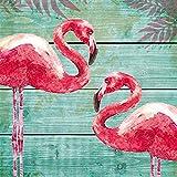 PPD Summer Flamingos Servietten, 20 Stück, Tischservietten, Tissue, Bunt, 33 x 33 cm, 1331941