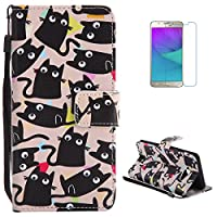 Samsung Galaxy J5(2017) Premium Flip Leather Case,[with Free Screen Protector] KaseHom Magnetic Closure Wallet Type Elegant Cute Cat Black Unique Pattern Design with [Card Slots][Anti-Scratch Bumper] Multi-function Protective Cover Holster for Samsung Galaxy J5(2017)
