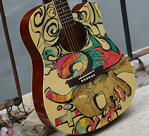 x-xin 104cm bemalt Graffiti Folk Gitarre aus Holz Anfänger Anfänger Eintrag Frauen.