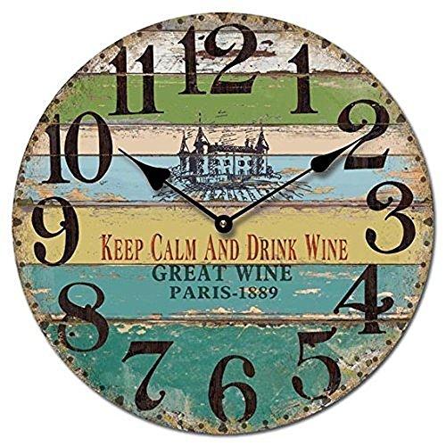 Orologio da parete design keep calm and drink wine retondo nostalgia - tinas collection