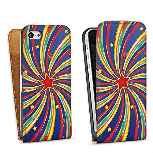 Apple iPhone 5s Housse Étui Protection Coque Étoile Étoile filante couleurs Sac Downflip blanc