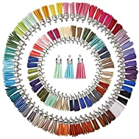 ZARRS Tassels for Crafts,100 Pack Faux Suede Tassel with Silver Cap Key Chain Straps for Arts Crafts Handbag Jewellery Making DIY Hanging Decoration 38mm Assorted Colors