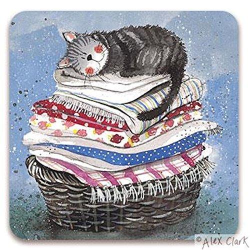 Alex Clark Cork Backed Coaster - Cat -Laundry Basket by Alex Clark
