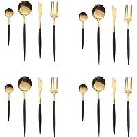 OUQIWEN Ensemble de couverts,16 Pièces couverts noir et or en acier inoxydable,Set de vaisselle,Compris Couteau…